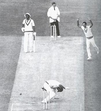 Mohinder Amarnath celebrates taking the wicket of Jeff Dujon