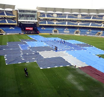 Covers on at the DY Patil stadium