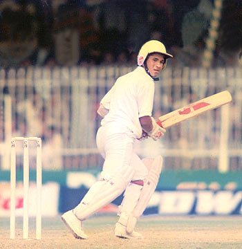 Sachin Tendulkar in action during his debut Test match against Pakistan at Karachi in November 1989