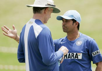 Sachin Tendulkar with Greg Chappell