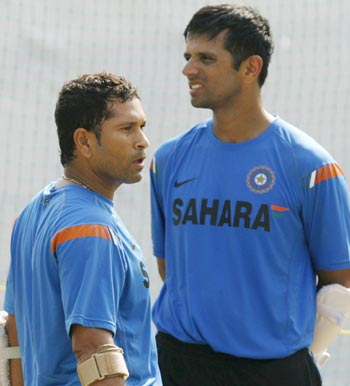Sachin Tendulkar and Rahul Dravid attend a practice session in Ahmedabad