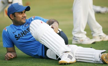 Virender Sehwag attends a practice session in Ahmedabad