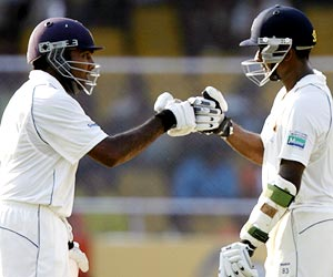 Mahela Jayawardene (left) and Prasanna Jayawardene