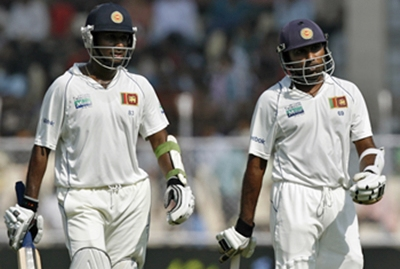 Mahela and Prasanna Jayawardene walkback at the lunch break