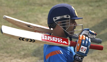 Virender Sehwag during a practice session in Kanpur on Monday