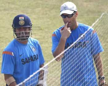 Gary Kirsten with Sachin Tendulkar during practice