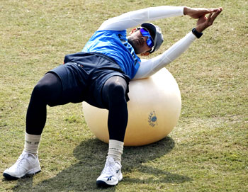 Rahul Dravid goes through the grind during practice on Monday