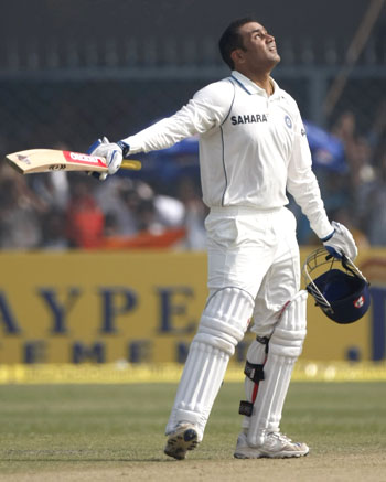 Virender Sehwag thanks his stars on completing his century
