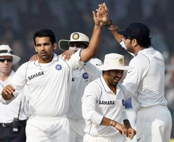 India's Zaheer Khan celebrates taking wicket of Sri Lanka's Angelo Mathews in Kanpur