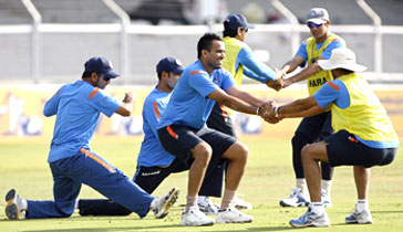 Indian players during a training session on Monday