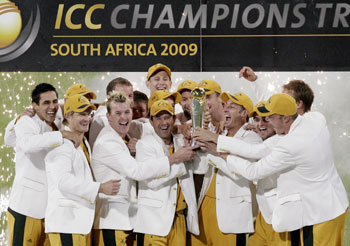 Team Australia celebrates winning ICC Champions Trophy final cricket match beating New Zealand in Pretoria