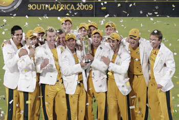 Australia celebrates winning the ICC Champions Trophy final