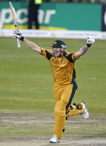 Shane Watson exults after hitting the winning runs