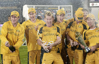 The Australian cricket team celebrates their victory