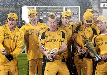 Australians celebrate after winning the ICC Champions Trophy