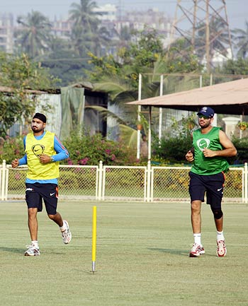 Harbhajan Singh (left) with Yuvraj Singh