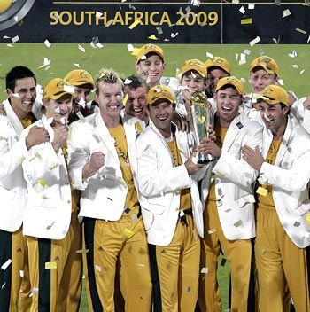 Australia celebrate winning the Champions Trophy