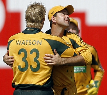 Watson is congratulated by Ponting