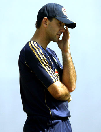 Ricky Ponting wears a worried look during a