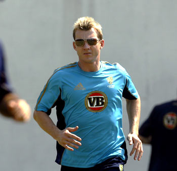 Brett Lee, who is down with a sore left elbow, goes through the paces during a practice session in Nagpur on Tuesday