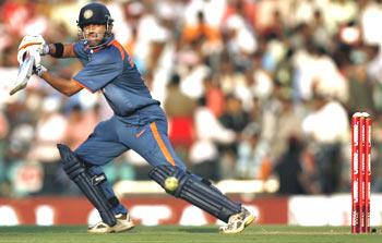 Gautam Gambhir in action against Australia on Wednesday