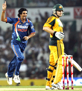 Ishant Sharma is ecstatic after taking the wicket of Shane Watson on Thursday