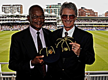 Headley's son Ron and Allan Knott at Lord's on Sunday