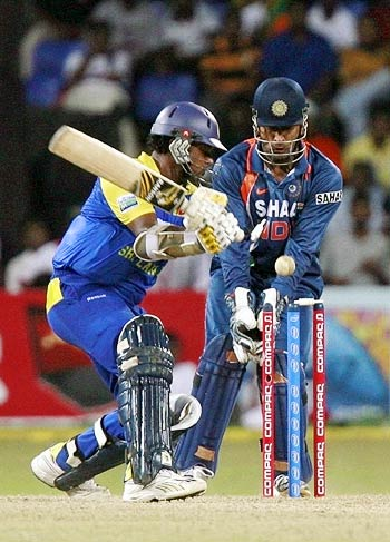 Thilina Kandamby is bowled by Harbhajan Singh