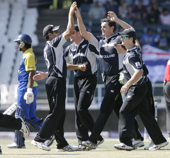 New Zealand team celebrates their win over Sri Lanka