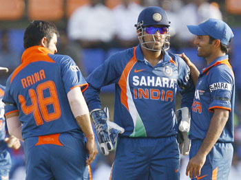 Sanjay Raina, MS Dhoni and Dinesh Karthik