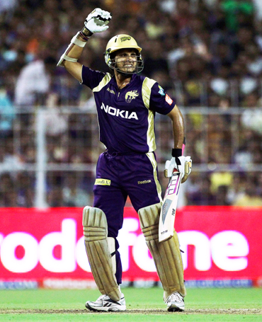 Captain Sourav Ganguly of the Knight Riders