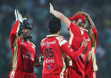 Royal Challengers players celebrate after a fall of a wicket