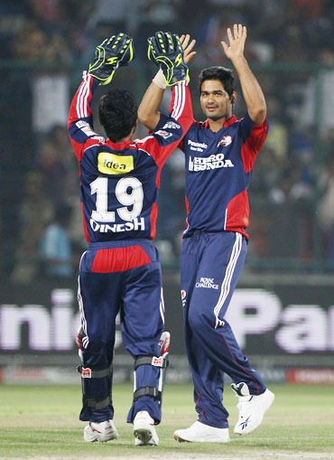 Padeep Sangwan celebrate after picking up a wicket