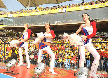 Cheerleaders do their jig during the match between the Chennai Super Kings and the Royal Challengers Bangalore
