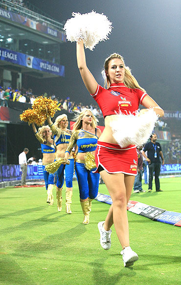 Cheerleaders perform during the match between Delhi Daredevils and Rajasthan Royals