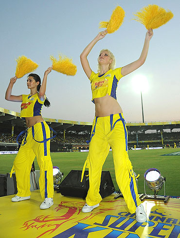 Chennai Super Kings cheerleaders perform during a match between Chennai Super Kings and Rajasthan Royals