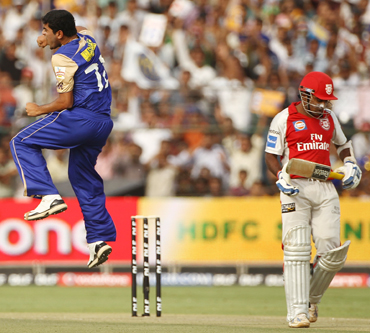 Aditya Dole of the Rajasthan Royals celebrates the wicket of Mahela Jayawardene