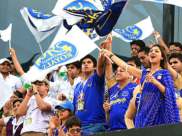 Shilpa Shetty cheers for the Rajasthan Royals during their match against Kings XI Punjab