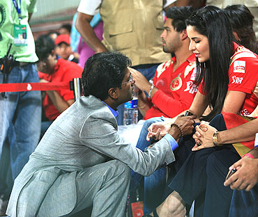 IPL commissioner Lalit Modi shares a word with Katrina Kaif