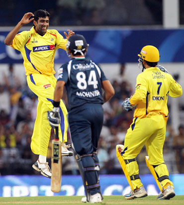 Ashwin celebrates after he picked up Mishra's wicket