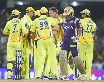 Chennai players celebrate the dismissal of Sourav Ganguly