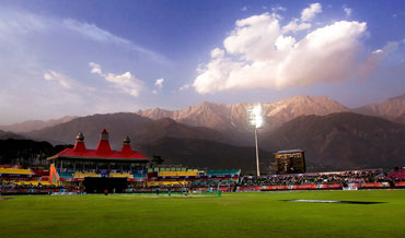An overview of the Dharamshala Cricket Association Stadium during