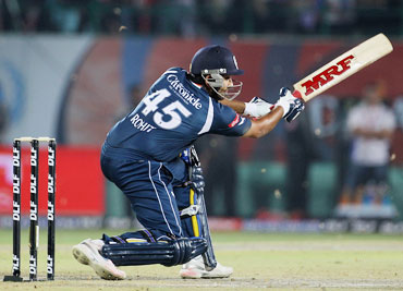 Rohit Sharma plays a square cut
