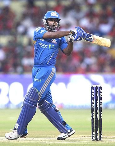 Ambati Rayudu plays a pull shot