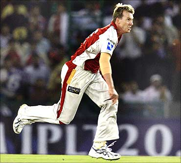 Brett Lee of Kings XI Punjab