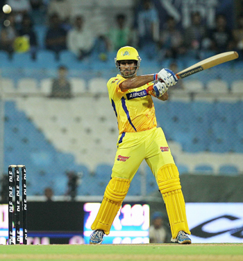 MS Dhoni of the Super Kings cuts during the 2010 DLF Indian Premier League T20 semi final match