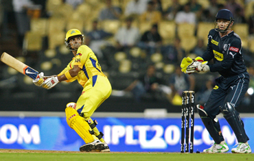 S Badrinath of the Super Kings in action