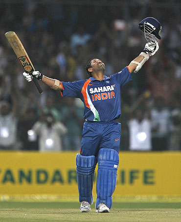 Sachin Tendulkar celebrates after his double century against South Africa in February