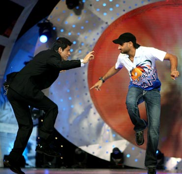 Harbhajan Singh (right) with Shah Rukh Khan