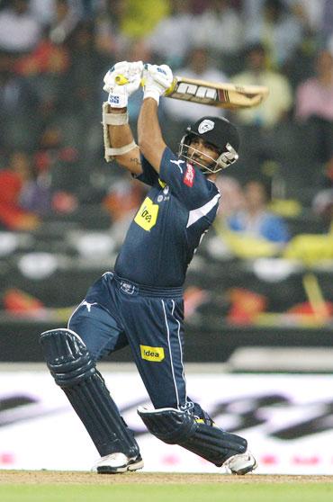 Anirudh Singh hits a six